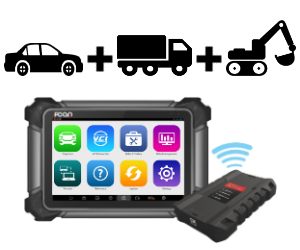 Diagnostic scan tool for use with heavy vehicles (trucks), machinery (construction/agricultural) and passenger vehicles (cars). Photo shows wireless connection between scanner and VCI via bluetooth.