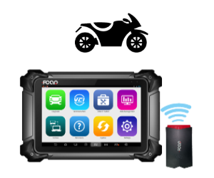 Diagnostic scan tool for use with motorcycles shown as a wireless option