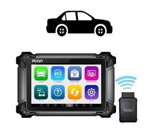 Diagnostic scan tool for passenger vehicles (cars) only. Picture shows bluetooth connection between VCI box and tablet